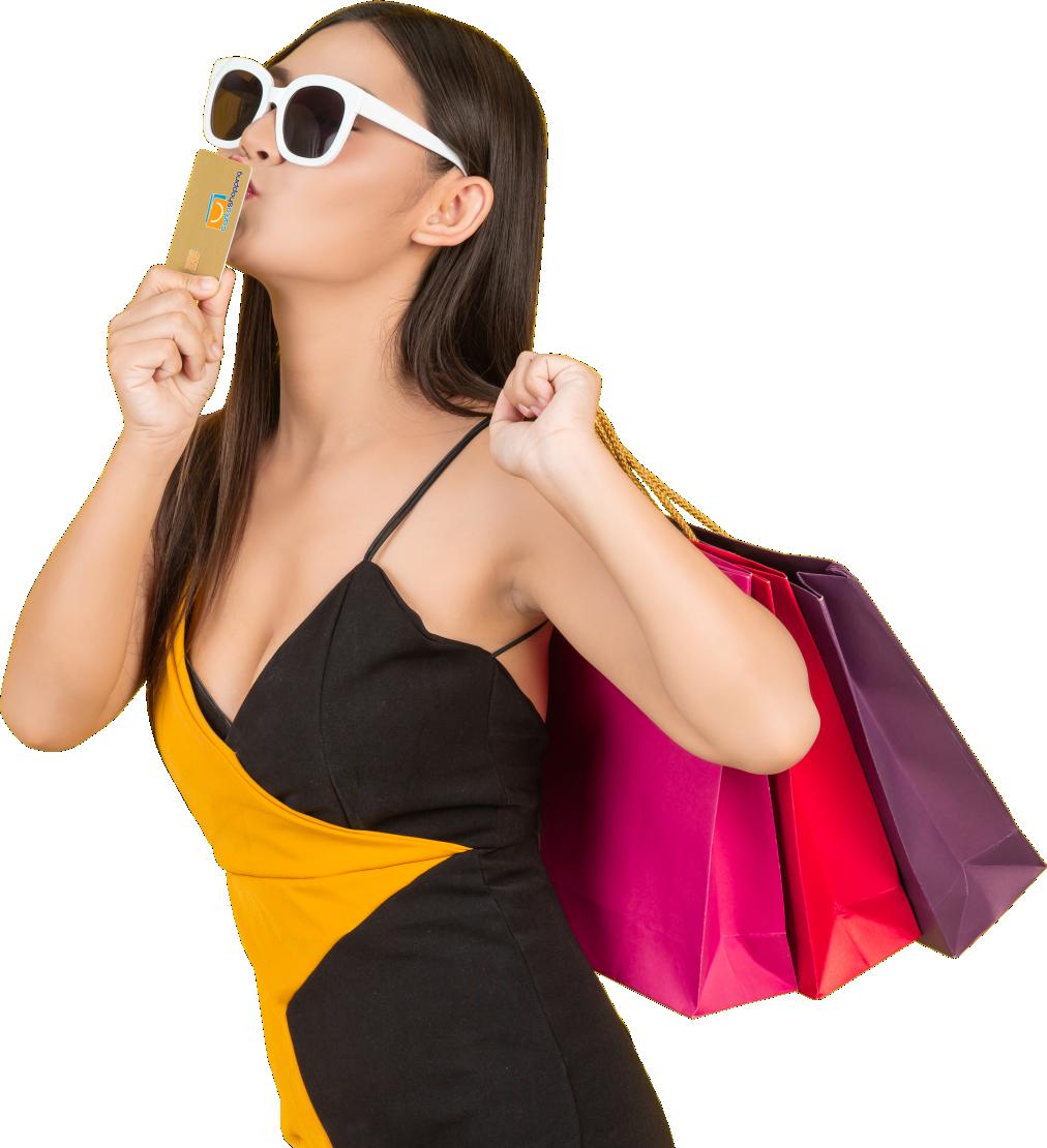 ragazza con fidelity card e shopping